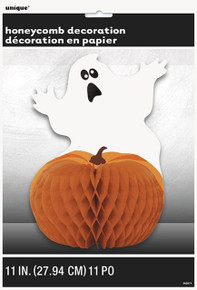 Scared Ghost Pumpkin Halloween Party Honeycomb Centerpiece 11 inch