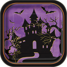 "Haunted House Halloween Dessert Cake Plates 7"" 10 Ct Purple"
