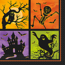 Haunted House Halloween Icon 20 Ct Lunch Napkins Skeleton Owl Ghost