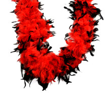 Chandelle Feather Boa Red with Black Tips 70 gm 72 in 6 Ft