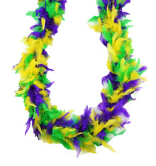 Purple Green Yellow Mardi Gras Colors 45 Gm 6 ft Chandelle Feather Boa