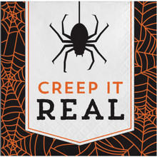 Creep It Real 16 Beverage Napkins Halloween Party Cocktail Spider