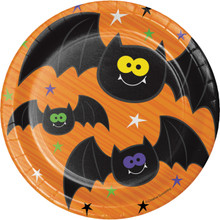 "Happy Haunts Kids 8 Ct 7"" Dessert Cake Plates Halloween Bats"