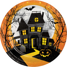 "Haunted Hill 8 Ct Luncheon Dinner 9"" Plates Halloween House"