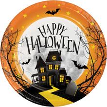 "Haunted Hill 8 Ct Dessert Cake 7"" Plates Halloween House"