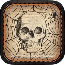 "Spooky Symbols 8 Ct Dessert Cake 7"" Plates Halloween SKull Webs"