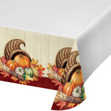 Autumn Bounty Tablecover 54 x 102 Thanksgiving Banquet Tablecloth Cornucopia