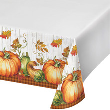 Harvest Plenty Tablecover 54 x 102 Thanksgiving Banquet Tablecloth Pumpkin