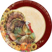 """Regal Turkey 8 Ct 10"""" Banquet Dinner Plates Thanksgiving Fall Flowers Pumpkins"""