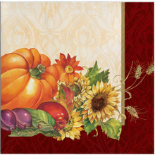Regal Turkey 16 Beverage Napkins Thanksgiving Fall Flowers Pumpkins