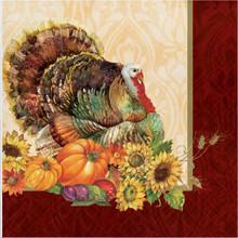 Regal Turkey 16 Luncheon Napkins Thanksgiving Fall Flowers Pumpkins