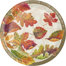 "Colors of the Wind 8 Ct 7"" Dessert Cake Plates Thanksgiving Fall Leaves"