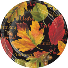 "Autumn Expressions 8 Ct 8.75"" Dinner Plates Sturdy Style Thanksgiving Leaves"