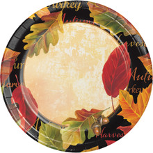 "Autumn Expressions 8 Ct 7"" Dessert Cake Plates Sturdy Style Thanksgiving Leaves"