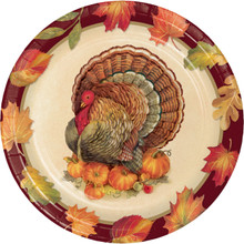 "Turkey Traditions 8 Ct 7"" Dessert Cake Plates Thanksgiving Banquet"