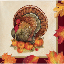 Turkey Traditions 16 Ct Beverage Napkins Thanksgiving Banquet