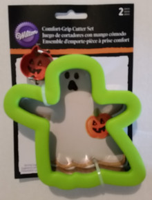 Ghost with Mini Pumpkin 2 Pc Comfort Grip Cookie Cutter Set Wilton