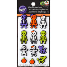 Skeleton XRAY Dot Icing Decorations 12 Ct Wilton Halloween