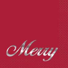 "Elegant Red Christmas ""Merry"" 16 Ct Cocktail Beverage Napkins Silver Foil"