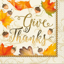 """Gold Fall Leaves 16 Ct Lunch Napkins Foil """"Give Thanks"""" Thanksgiving"""