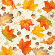 Gold Foil Fall Leaves 16 Ct Dinner Napkins XLG Thanksgiving