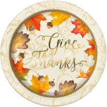 "Gold Fall Leaves 8 Ct 9"" Dinner Lunch Plates Thanksgiving"