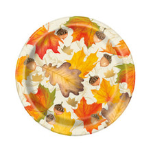 "Gold Foil Fall Leaves 8 Ct 7"" Dessert Cake Plates Thanksgiving"