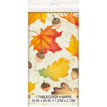 Gold Fall Leaves 54 x 84 Plastic Tablecover Thanksgiving