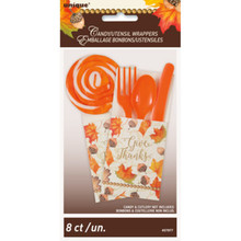 Gold Fall Leaves 8 Ct Utensil Cutlery Pouch Wrapper Thanksgiving