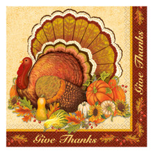 Give Thanks 16 Ct Luncheon Napkins Turkey Thanksgiving