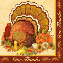 Give Thanks 16 Ct Dinner XL Napkins Turkey Thanksgiving