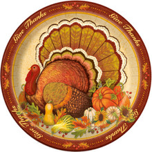 """Give Thanks 8 Ct Dinner Banquet Plates 10.25"""" Turkey Thanksgiving"""