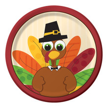 "Turkey Fun Thanksgiving 8 ct 7"" Dessert Cake Plates Fall Party"