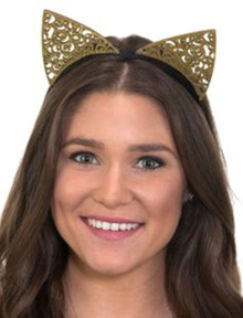 Gold Glitter Cat Ears Headband