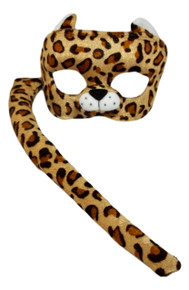Child Leopard Costume Set Plush Mask and Tail