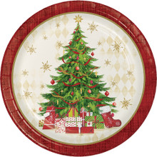 "Tasteful Tree 8 Ct 8.75"" Lunch Dinner Plates Christmas Holiday"