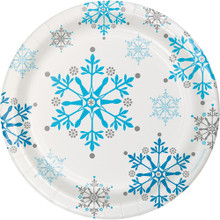 "Snowflake Swirls 8 Ct 7"" Dessert Cake Plates Christmas Holiday"