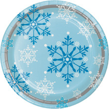 "Snowflake Swirls 8 Ct 8.75"" Luncheon Dinner Plates Christmas Holiday"