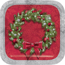 Welcoming Wreath 8 Ct Dessert Cake Plates Christmas Holiday