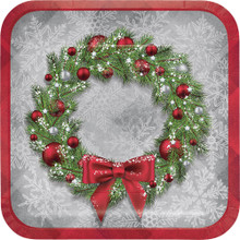 "Welcoming Wreath 8 Ct 9"" Luncheon Dinner Plates Christmas Holiday"