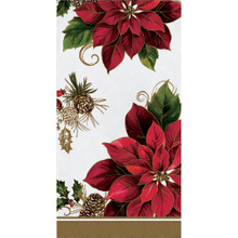 Golden Greenery Poinsettia 16 Ct Guest Napkins Christmas Holiday 3 Ply
