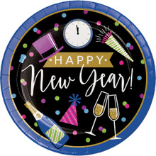 "New Years Eve Cheers 8 Ct 8.75"" Luncheon Dinner Plates"