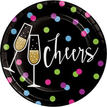 "New Years Eve Cheers 8 Ct 7"" Dessert Cake Plates ""Cheers"""