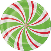 "Peppermint Party 8 Ct 7"" Dessert Cake Plates Christmas Holiday"