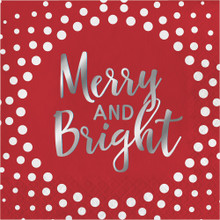 Merry and Bright Foil 16 Ct Red Luncheon Napkins Christmas Holiday Sparkle