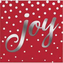 Joy Foil 16 Ct Red Beverage Napkins Christmas Holiday Sparkle