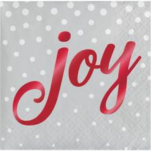 Joy Foil 16 Ct Silver Beverage Napkins Christmas Holiday Sparkle