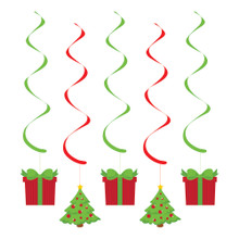 Christmas Presents Trees 5 ct Party Dizzy Danglers Hanging Decorations