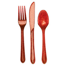 Glitz Glittering Red Plastic 24 Pc Asst Cutlery Forks Knives Spoons