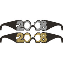 2018 6 Ct Favor Glasses New Years Eve Graduation Black Gold Silver Glitter